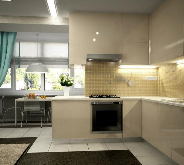 Полное совмещение балкона с кухней
