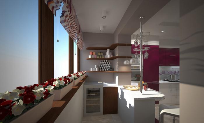 Объединение кухни и балкона -увеличение полезной площади