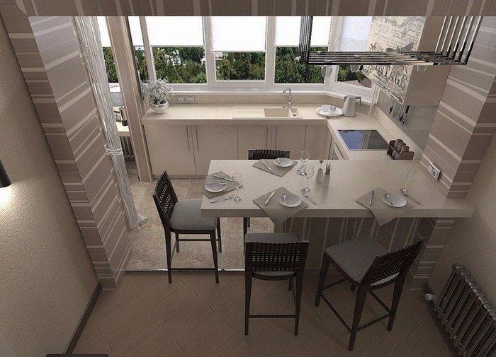 Кухня, объединенная с балконом или лоджией