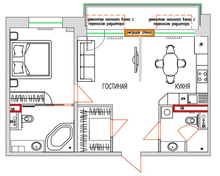 Кухня, объединенная с балконом - планировка