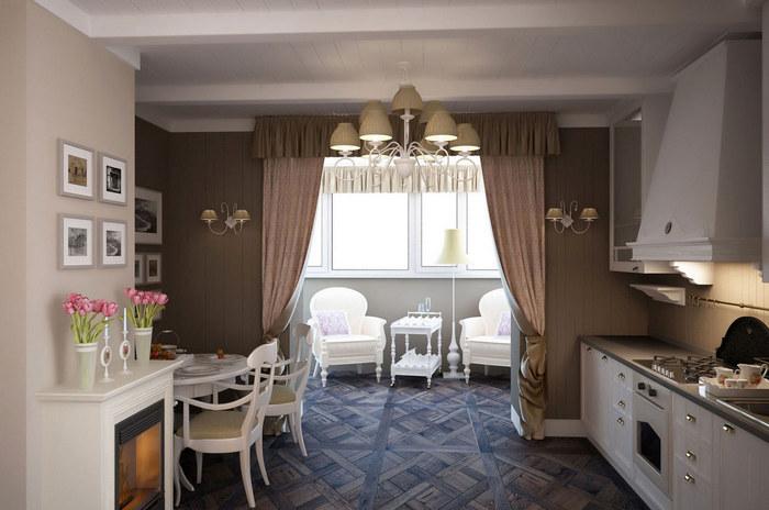 Идеи для балкона, объединенного с кухней