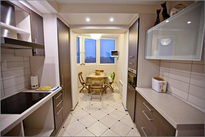Совмещение кухни с балконом - зонирование