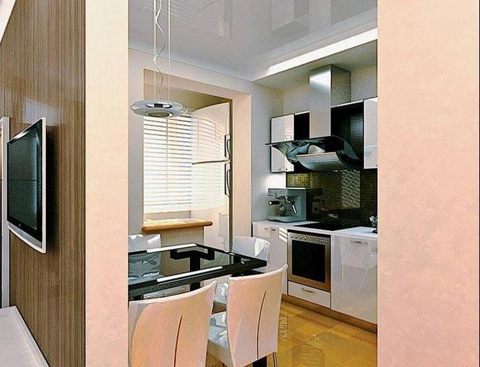 Интерьер кухни совмещенной с балконом - хай-тек