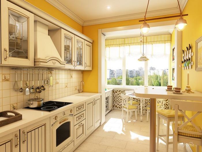 Кухня совмещенная с балконом - прованс